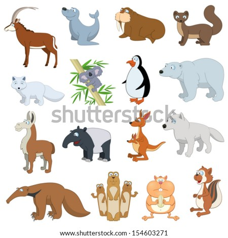 Various Wildlife Animals set on white background - stock vector