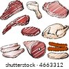 Varioust cuts of raw meat hand-drawn lineart sketch look rough sketchy coloring - stock photo