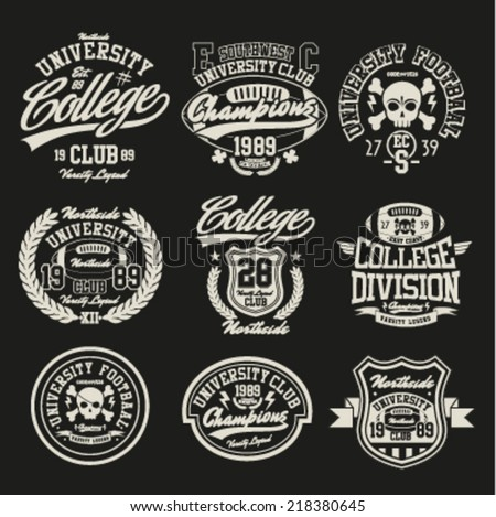 Varsity College vector label and print set. - stock vector