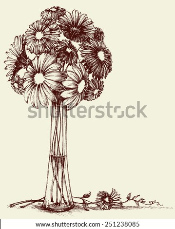 Vase of flowers, wedding bouquet sketch retro style - stock vector