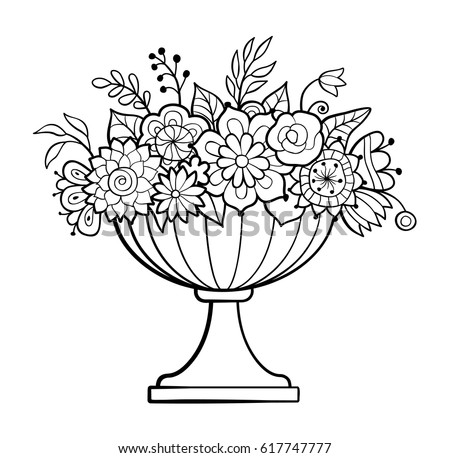 Vase With Flowers Big Flower Pot Monochrome Vector Illustration Antistress Coloring Page For