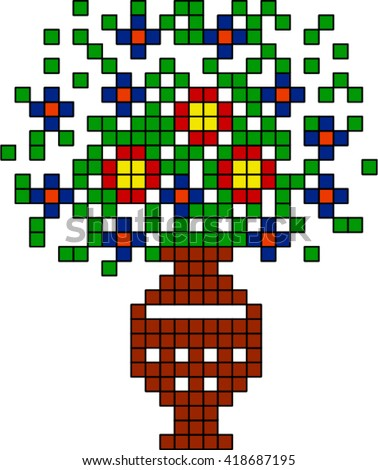 Vase with flowers,pixel ( drawing for the embroidery ). - stock vector