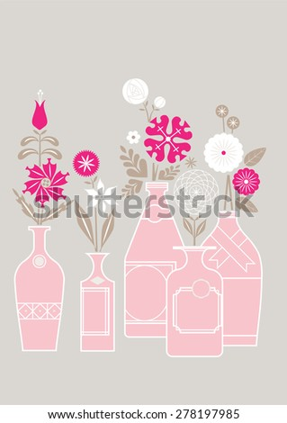 Vases and Flowers Illustration, Set of Vector Elements - stock vector