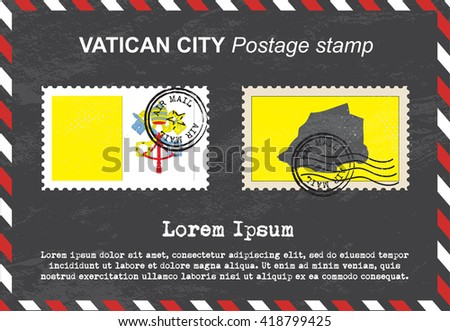 Vatican City postage stamp, postage stamp, vintage stamp, air mail envelope. - stock vector