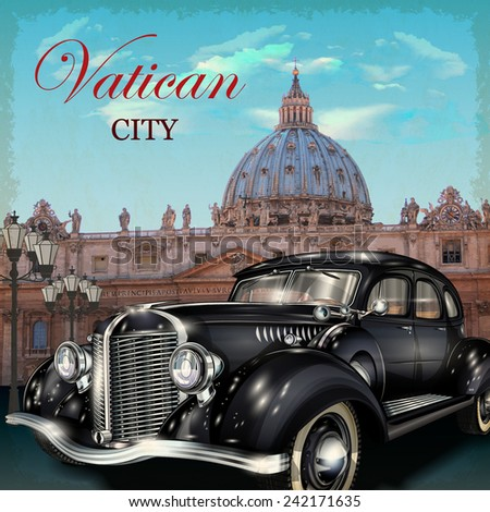 Vatican city retro poster. - stock vector