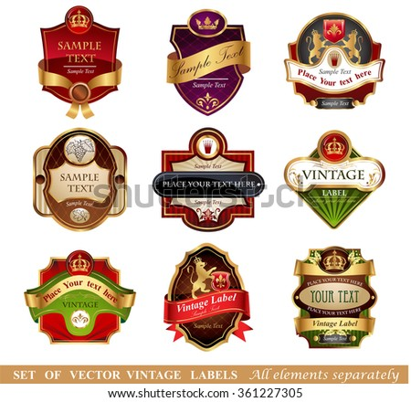 Vctor luxury labels - stock vector