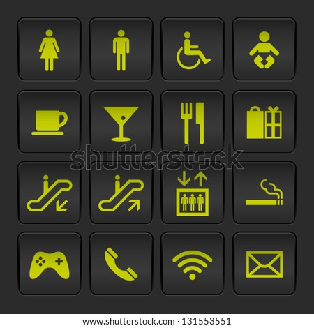 Vecor Black and Yellow Airport/Shopping mall Icons set