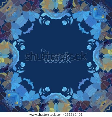 Vecor Design Card with floral frame - stock vector