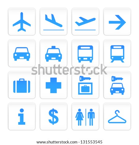 Vecor White and Blue Airport Icons set - stock vector