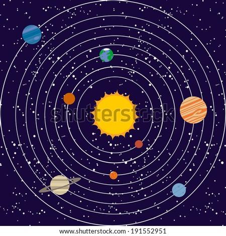Vecotr solar system illustration - stock vector