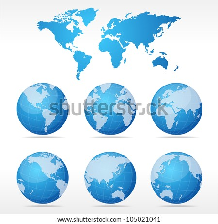 Vecrot globe set - stock vector