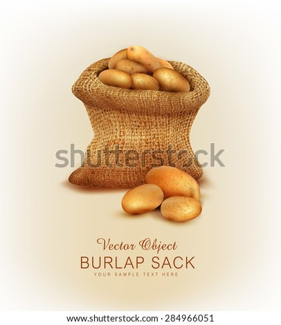 Vector a burlap sack with potatoes - stock vector
