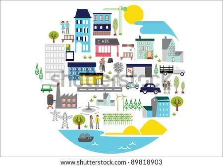 VECTOR - a circle city with nice and original hand draw elements - stock vector