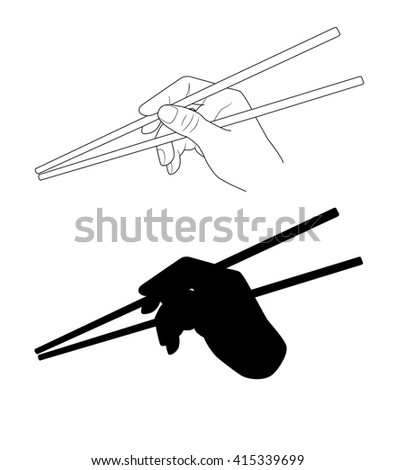 Vector. A hand holding chopsticks. Oriental cuisine. Isolated illustration of japanese / korean / chinese  chopsticks for noodles, sushi, rice and other eastern food. Chopsticks silhouette. - stock vector