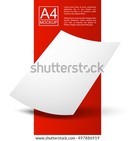 Vector A4 mockup isolated on white background with dots background. Paper A4 mockup Red Line series. A4 mockup Ready for your design.