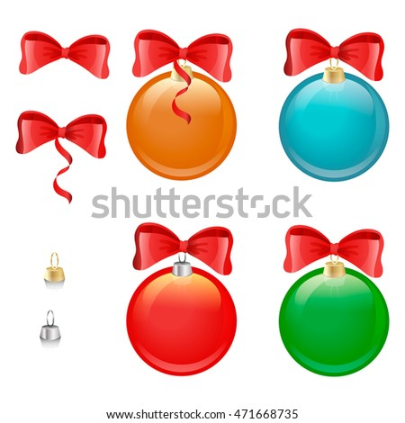Vector. A set of Christmas tree of colorful balloons. Transparent background. Red bow. Red ribbon.