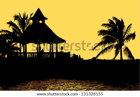 Vector. A Silhouette of Gazebo at Sunset. - stock vector