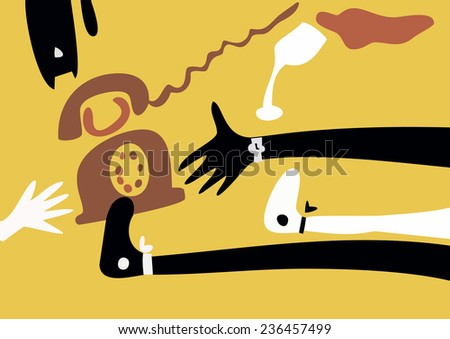 Vector. A telephone, a girl, a glass and a cat. Waiting for a telephone call. Girl drinking. - stock vector