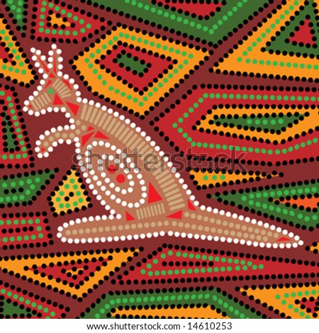 Vector aboriginal style design with kangaroo.
