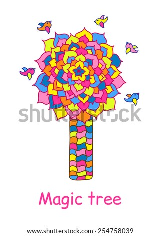 Vector absrtract magic tree. Colored mosaic painting.
