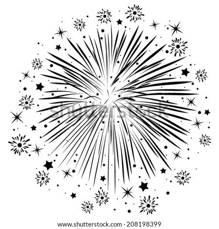 vector abstract anniversary bursting fireworks with stars and sparks, black and white - stock vector