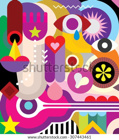 Vector abstract art composition with various colorful shapes and objects.  - stock vector