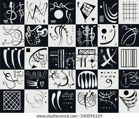 Vector abstract art. Kandinsky's abstract expressionism. - stock vector