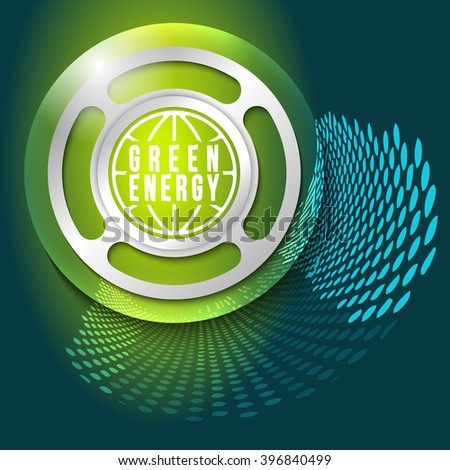 Vector abstract background and silver object with green energy symbol - stock vector