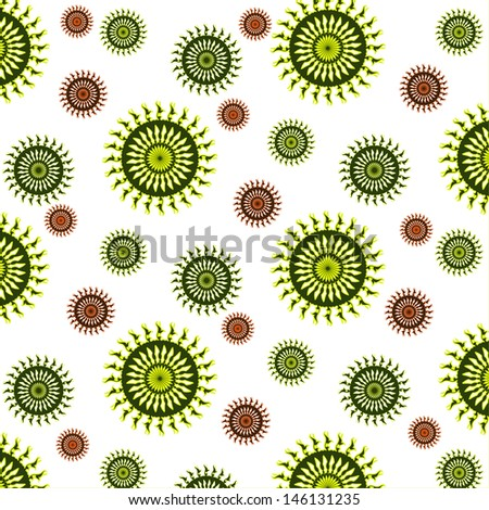 Vector Abstract Background Design Mandala Circle with Green and Brown