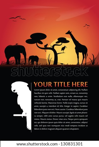 Vector abstract background for poster or brochure with african animals silhouettes and place for text - stock vector