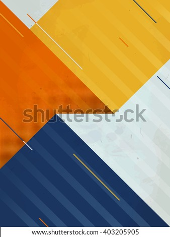 Vector abstract background. Grunge texture. Triangle geometric pattern. Creative sport yellow blue illustration EPS. - stock vector
