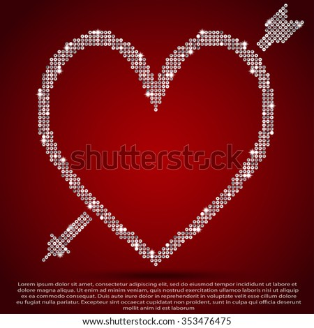 Vector abstract background. Heart of glitter. Silver sequins. Valentine's Day.