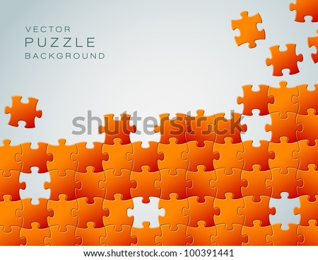 Vector Abstract background made from orange puzzle pieces and place for your content - stock vector