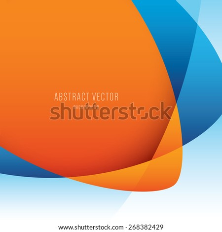 vector abstract background, modern orange and blue colors - stock vector