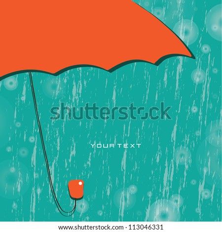 Vector abstract background. Red umbrella in the rain / Rainy weather