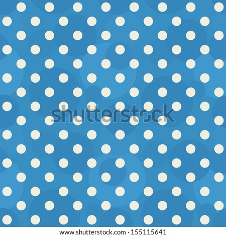 Vector abstract background - retro seamless blue polka dots pattern - stock vector