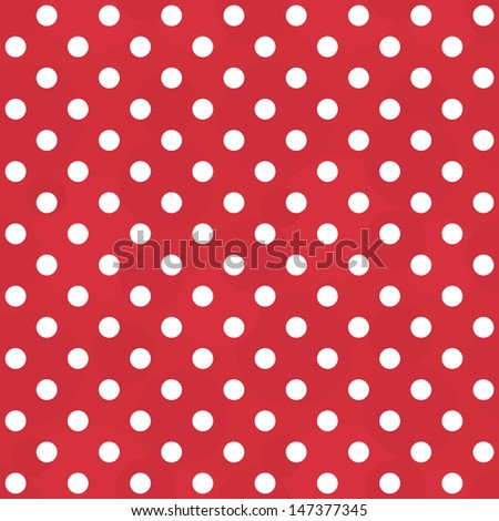 Vector abstract background - vintage seamless polka dots white and red pattern - stock vector