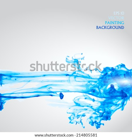 Vector abstract background. Watrecolor swirling in water.