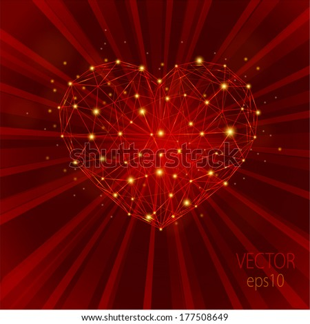 vector abstract background  with a glowing heart  - stock vector