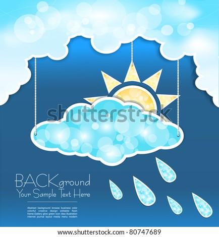 vector abstract background with blue clouds, sun and rain drops