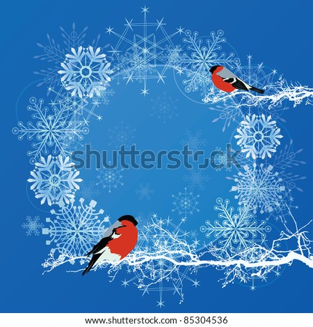 vector abstract background with bullfinches in blue and white colors (EPS 10)