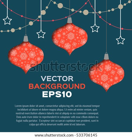 Vector abstract background with christmas toys. EPS10