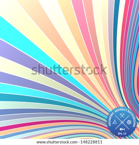 Vector abstract background with curled stripes. Illusion of 3d stripes.  - stock vector