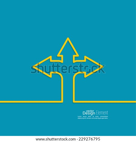 Vector abstract background with direction arrow sign. The concept of a decision making standing on road junction. Movement in an unknown direction. uncertainty choice - stock vector