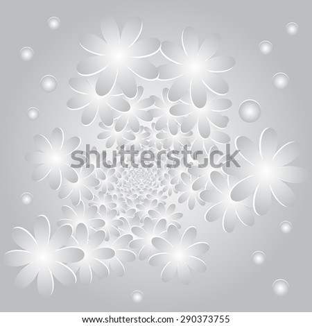 Vector abstract background with flowers and circles  on a gray background - stock vector