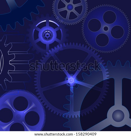 vector abstract background with gears - stock vector