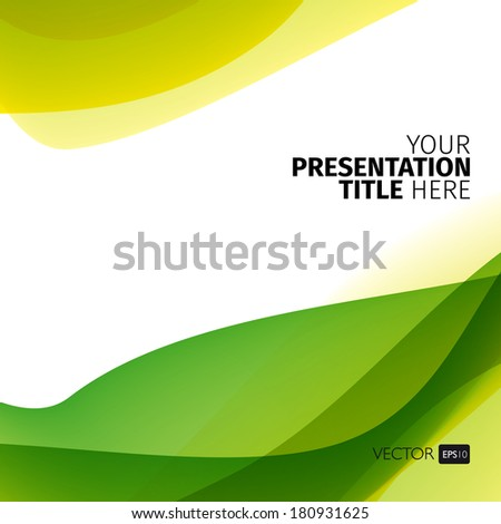 Vector abstract background with green waves. Presentation template. - stock vector