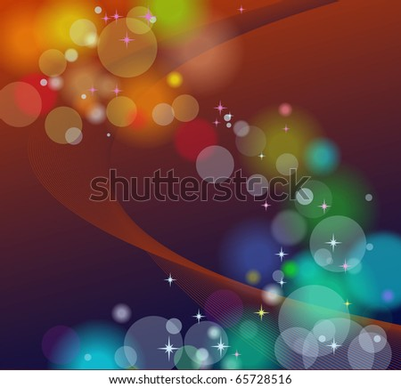 Vector abstract background with lights and stars - stock vector