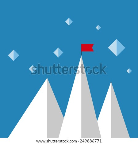 Vector abstract background with mountains and a red flag at the peak. The concept of overcoming difficulties to achieve winning results. Achieving the goal. - stock vector