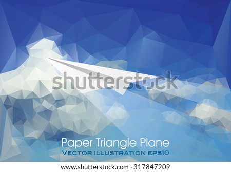 vector abstract background with paper plane over paper sky and clouds, low poly - stock vector